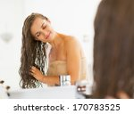happy young woman with wet hair ... | Shutterstock . vector #170783525