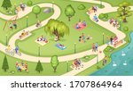people in city park  family... | Shutterstock .eps vector #1707864964
