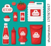 any kinds of ketchup package...   Shutterstock .eps vector #1707872017