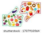 healthy vs junk food vector... | Shutterstock .eps vector #1707910564