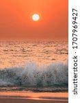 Sunset Sun Above Sea. Natural...