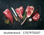Small photo of Variety of raw beef meat steaks for grilling