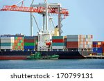 container stack and ship under...   Shutterstock . vector #170799131