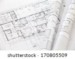 architect rolls and plans... | Shutterstock . vector #170805509