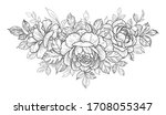 Hand Drawn Rose Flower And...