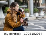 photo of young tourist girl...   Shutterstock . vector #1708102084
