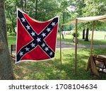 american civil war reenactment confederate flag in camp