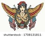 bad girl  golden wings and... | Shutterstock .eps vector #1708131811