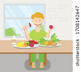 a boy is eating nutritious food ... | Shutterstock .eps vector #1708142647