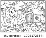 coloring page with a unicorn. a ...   Shutterstock .eps vector #1708172854