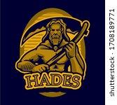 Hand drawn illustrations ancient Greek myths. Hades the ancient Greek god of the underworld. Hades, the god of the dead and the king. Greek god and goddess vector illustration series.