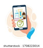 hand holds a phone with a... | Shutterstock .eps vector #1708223014