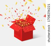 open red gift box and confetti. ...   Shutterstock .eps vector #1708256221