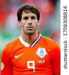Small photo of Bern, SWITZERLAND - June 9, 2008: Ruud van Nistelrooy looks on during the UEFA Euro 2008 Netherlands v Italy at Stade de Suisse.