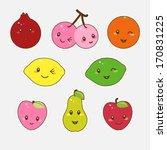 cute fruit set in cartoon style. | Shutterstock .eps vector #170831225