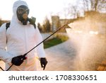 Man Wearing Protective Suit...