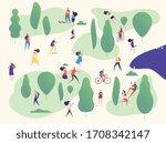 people in park. families in... | Shutterstock . vector #1708342147