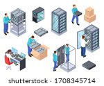 server room isometric.... | Shutterstock . vector #1708345714