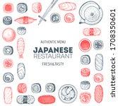 sushi menu  sushi bar hand... | Shutterstock .eps vector #1708350601