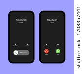 iphone call screen set.... | Shutterstock .eps vector #1708357441