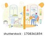 banner guy wants neighbor dog...   Shutterstock .eps vector #1708361854