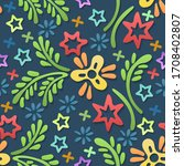 colorful doodle floral seamless ... | Shutterstock .eps vector #1708402807