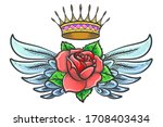 winged rose and golden crown... | Shutterstock .eps vector #1708403434