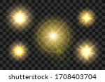 set of realistic sun burst with ... | Shutterstock .eps vector #1708403704