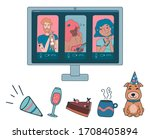 online party or video... | Shutterstock .eps vector #1708405894