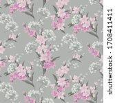 vintage mille fleurs wallpaper... | Shutterstock .eps vector #1708411411