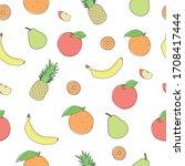 fresh fruit pattern on white... | Shutterstock .eps vector #1708417444
