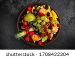 Assorted Fruit Plate On Dark...