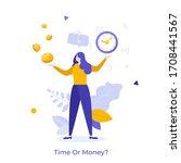 woman resolving dilemma  making ... | Shutterstock .eps vector #1708441567
