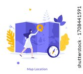 woman placing location mark or... | Shutterstock .eps vector #1708441591