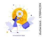 woman fixing glowing light bulb ... | Shutterstock .eps vector #1708441594