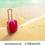 travel suitcase is alone on a...   Shutterstock . vector #170846045