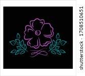 line art flower vector on black ... | Shutterstock .eps vector #1708510651