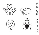 hand drawn friendship and love... | Shutterstock .eps vector #1708519021