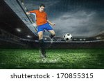 football player with ball in... | Shutterstock . vector #170855315