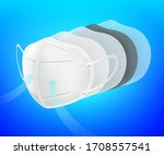 n95 air filter mask. activated... | Shutterstock .eps vector #1708557541
