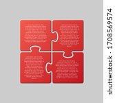 four pieces puzzle squares... | Shutterstock .eps vector #1708569574
