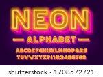 neon alphabet font. 3d effect... | Shutterstock .eps vector #1708572721