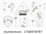 black flower collection with... | Shutterstock .eps vector #1708578787