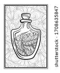 bottle with magic healing...   Shutterstock .eps vector #1708635847