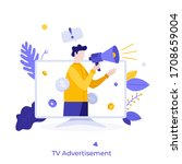 man with megaphone or bullhorn... | Shutterstock .eps vector #1708659004