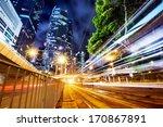 modern city at night  hong kong ...   Shutterstock . vector #170867891