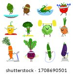 vegetables sports characters.... | Shutterstock . vector #1708690501