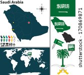 Vector map of Saudi Arabia with regions, coat of arms and location on world map