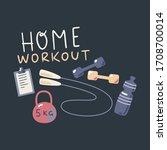 home workout vector... | Shutterstock .eps vector #1708700014