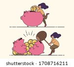 saving money. flat minimal... | Shutterstock .eps vector #1708716211